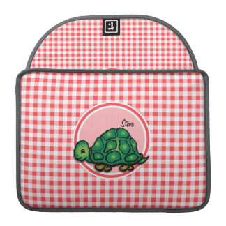 Turtle; Red and White Gingham Sleeves For MacBooks