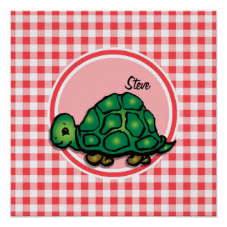 Turtle; Red and White Gingham Print