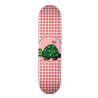 Turtle; Red and White Gingham Skate Boards