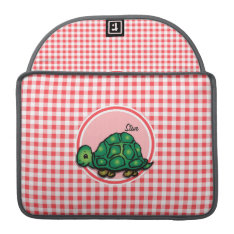 Turtle; Red And White Gingham Sleeve For Macbooks at Zazzle