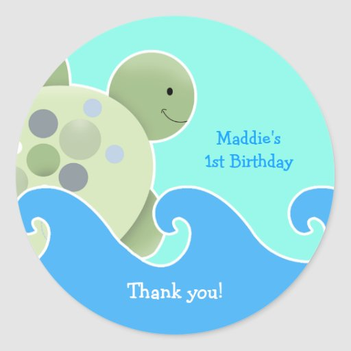 Turtle Reef Baby Shower / Birthday Favor Sticker