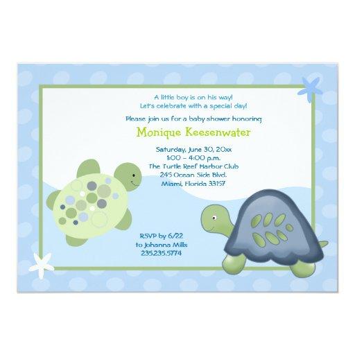 turtle reef baby shower invitation light blue zazzle