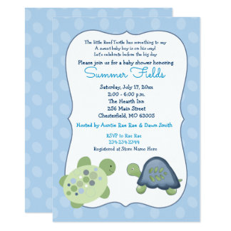 Turtle Reef Blue Dot Boy Baby Shower Invitation