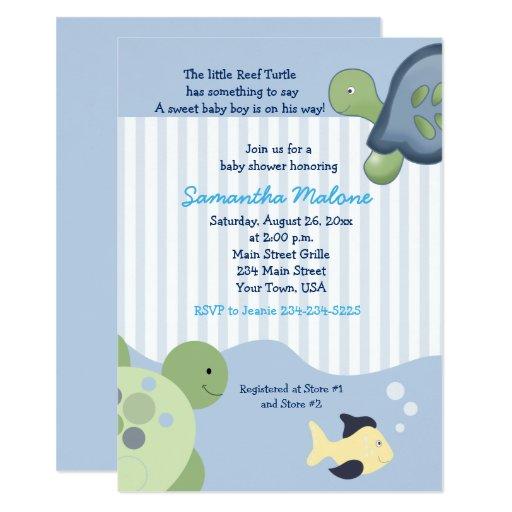 Turtle Reef Boy Baby Shower Invites