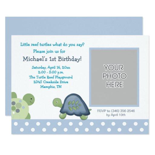 Turtle Reef Boys Birthday Tortoise Photo Card