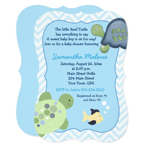 Turtle Reef Chevron Boy Baby Shower Invites
