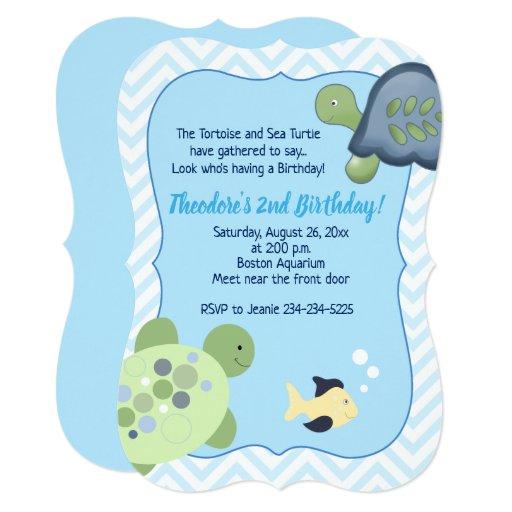 Turtle Reef Chevron Boy Birthday Invitations