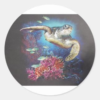 Turtle Reef Classic Round Sticker