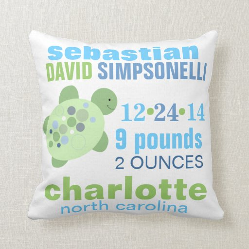 Turtle Reef Custom Birth Announcement Pillow