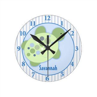 Turtle Reef Customized Nursery Wall Clock