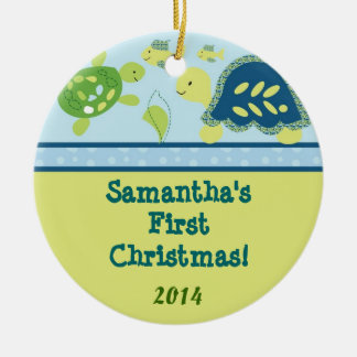 Turtle Reef Ocean Pond Personalized Name Ornament