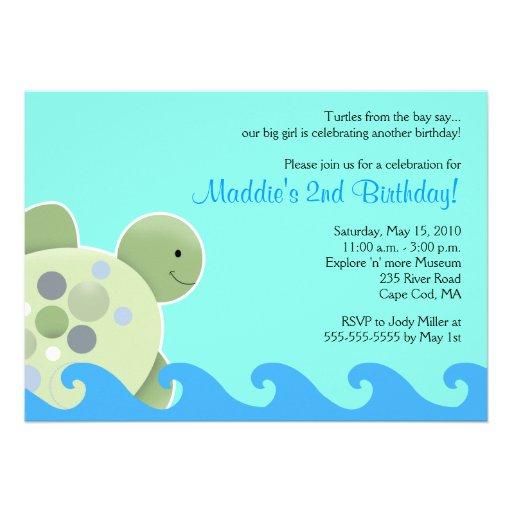 Personalized sea turtle invitations custominvitations4u turtle reef seaturtle 5x7 birthday invitation filmwisefo