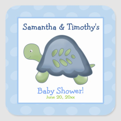 Turtle Reef Square Favor Stickers (6 Large)