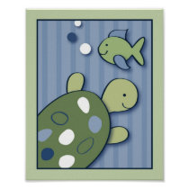 Turtle Reef Turtle Nursery Wall Art Print 8X10