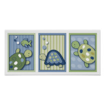 Turtle Reef Turtle Nursery Wall Art Prints