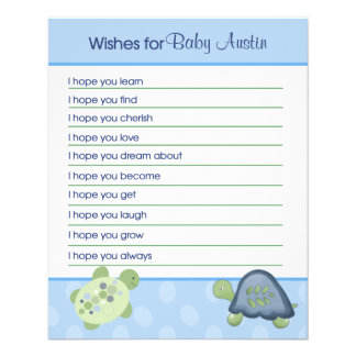 Turtle Reef Wishes For Baby Advice Cards