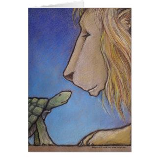 turtle regards lion card