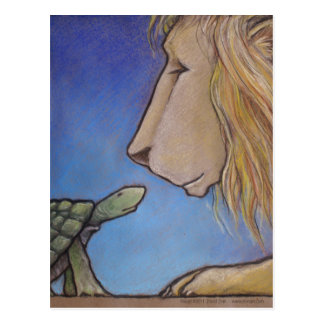 turtle regards lion postcard