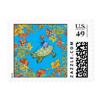 Turtle Rider Postage Stamp
