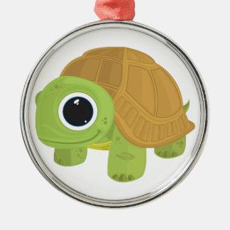 Turtle Round Metal Christmas Ornament