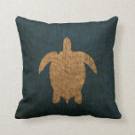 Turtle Rustic Blue Throw Pillow