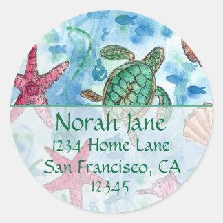 Turtle Sea Creatures Blue Return Address Classic Round Sticker