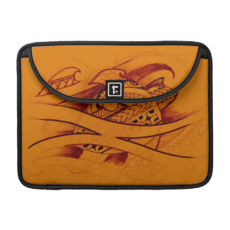 turtle sketch design with spearheads on orange MacBook pro sleeves