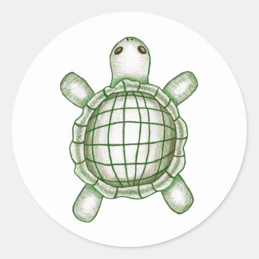 Turtle Sketch Round Sticker