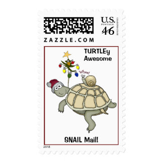 Turtle & Snail Christmas. SNAIL Mail. Stamp