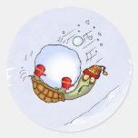 Turtle Snowball Ride Classic Round Sticker