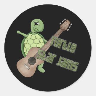 Turtle Star Jams Round Stickers
