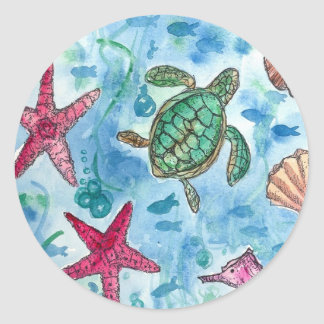 Turtle Starfish Shells Sea Creature Watercolor Classic Round Sticker