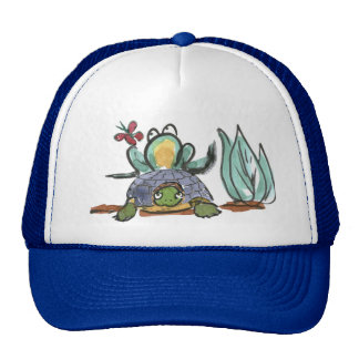 Turtle Step Stool for Frog Eyeing a Butterfly Trucker Hat