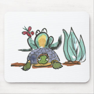 Turtle Step Stool for Frog Eyeing a Butterfly Mouse Pad