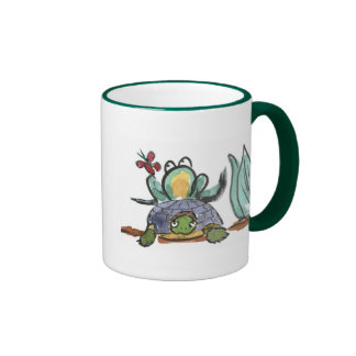 Turtle Step Stool for Frog Eyeing a Butterfly Ringer Coffee Mug
