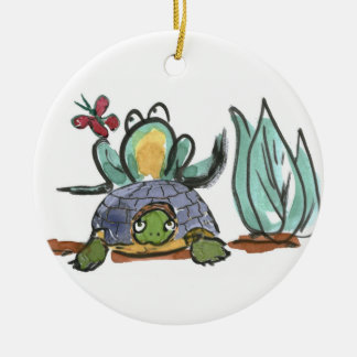 Turtle Step Stool for Frog Eyeing a Butterfly Double-Sided Ceramic Round Christmas Ornament