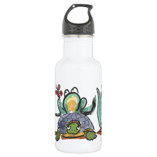Turtle Step Stool for Frog Eyeing a Butterfly 18oz Water Bottle