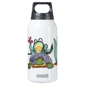 Turtle Step Stool for Frog Eyeing a Butterfly 10 Oz Insulated SIGG Thermos Water Bottle