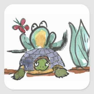 Turtle Step Stool for Frog Eyeing a Butterfly Square Sticker