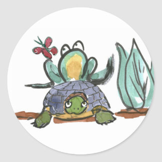 Turtle Step Stool for Frog Eyeing a Butterfly Classic Round Sticker