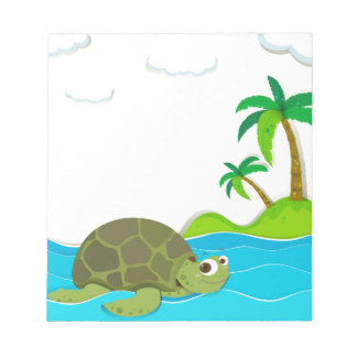 Turtle swimming in the ocean notepad