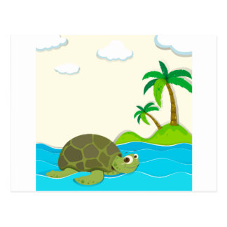 Turtle swimming in the ocean postcard