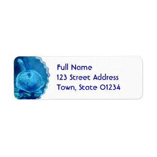 Turtle Swimming Underwater Mailing Label Return Address Label