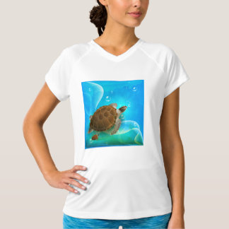 Turtle Swimming Womens Active Tee