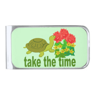 Turtle Take the TIme Roses Silver Finish Money Clip