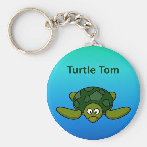 Turtle Tom Basic Round Button Keychain