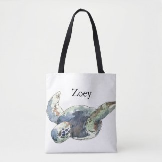 Turtle Tote Beach Bag kids Customize name