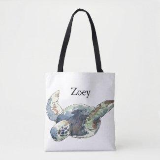 Turtle Tote Beach Bag kids Customize name