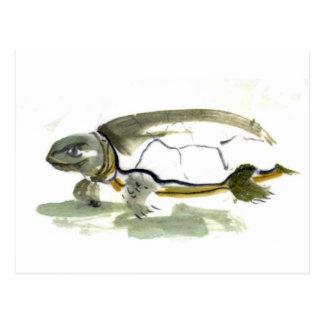 Turtle, traditional Sumi-e in color Postcard