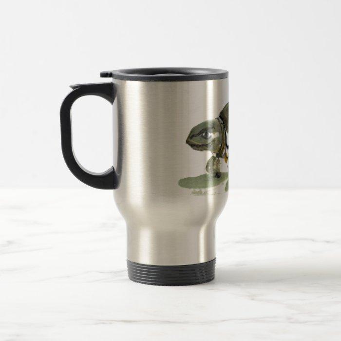 Turtle, traditional Sumi-e in color Travel Mug